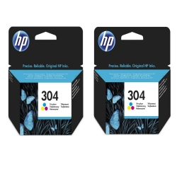 Hewlett-Packard (HP) Original 304 Tri-Colour Ink Twin - Bundle Pack